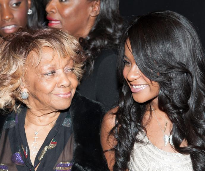 """Bobbi Kristina attends """"The Houstons: On Our Own"""" Series Premiere Party with her grandmother Cissy Houston."""