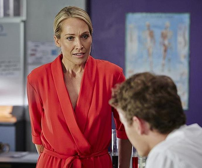 Erica on Home and Away in her new role as Charlotte King, Summer Bay's new biology teacher.