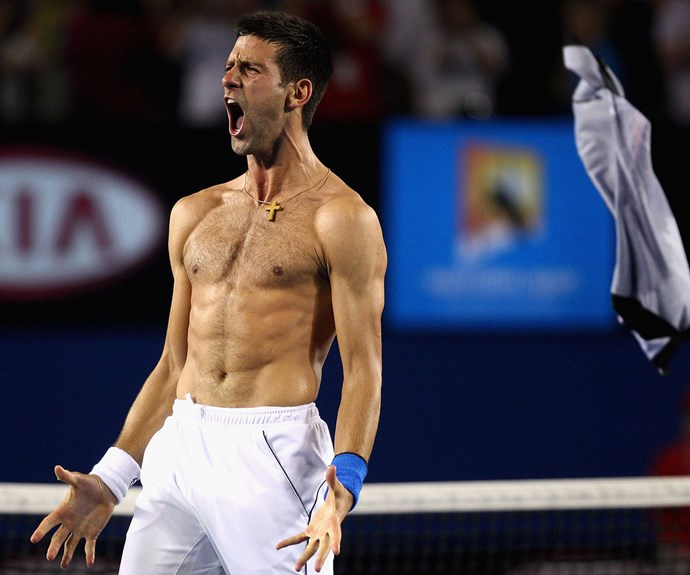 Last year's reigning Wimbledon champ Novak Djokovic shows us good abs and an even better victory face are all par for the course in the game of tennis.