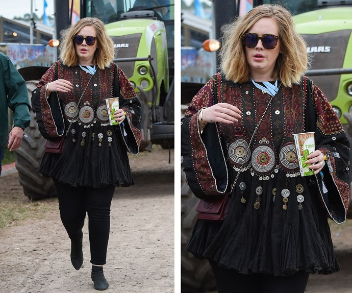 Adele has been keeping a low profile for the past few years, but the mum-of-one has slowly crept back into the public eye on her own accord as she stunned in a Glastonbury inspired outfit – here's hoping for another album soon!