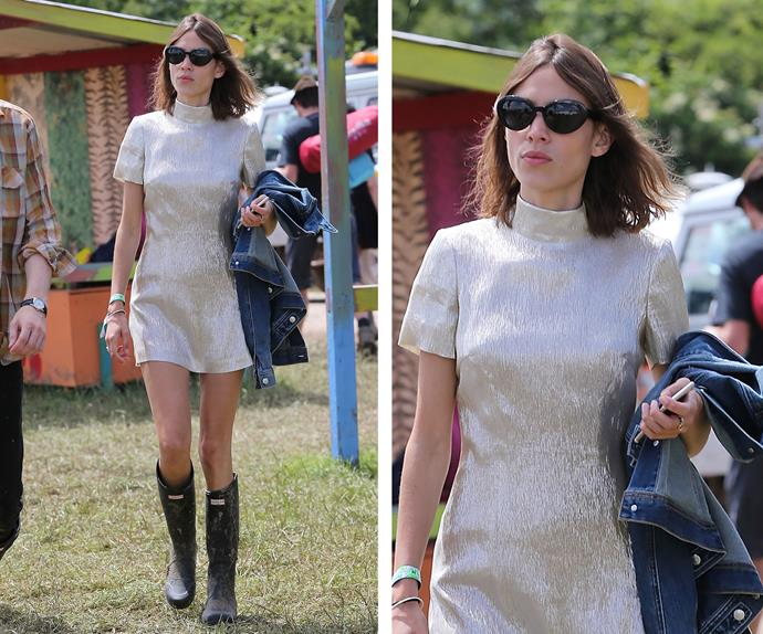 Alexa Chung was without rumoured beau Alexander Skarsgard but looked stunning in a metallic dress.