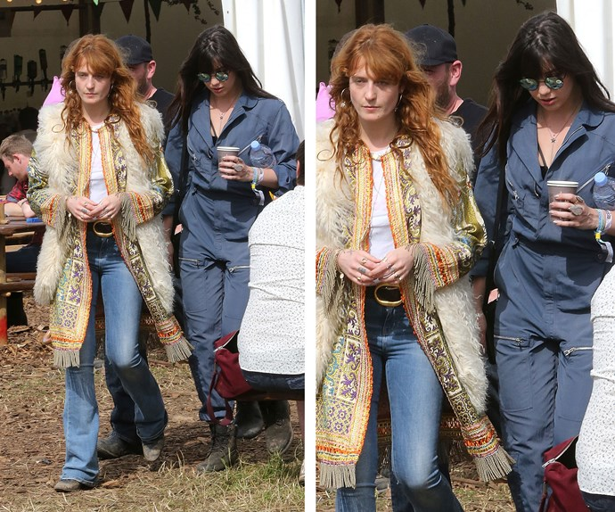 *Florence and the Machine's* Florence Welch donned hippie chic as she linked arms with pal Daisy Lowe.