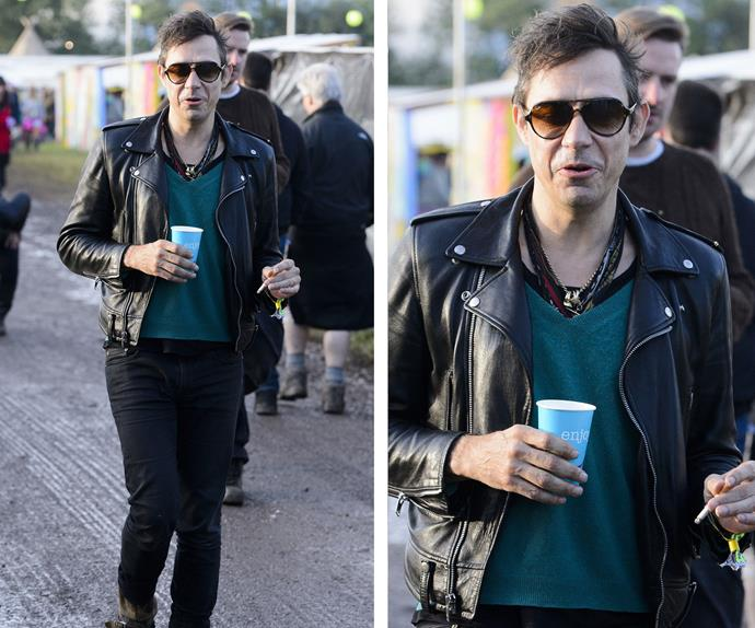Wearing his trademark skinny jeans and leather jacket Jamie Hince went to Glastonbury without his wife Kate Moss, who normally is part of the furniture at the festival.