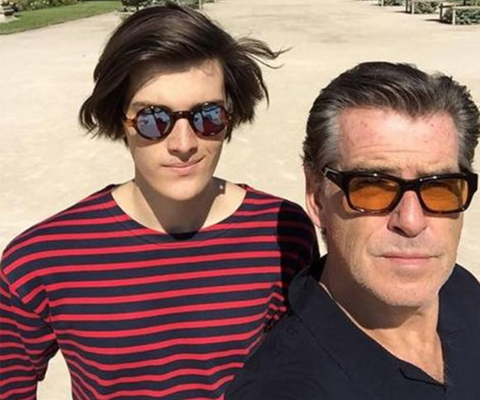 """Dylan and Papa on a sunny morning In Paris,"" *Bond* star Pierce Brosnan mused alongside this photo of his 19-year-old son."