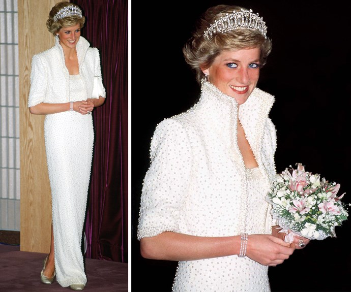 "The Princess was also a fashion luminary. Dubbed the ""Elvis"" dress, this 1989 outfit became legendary."