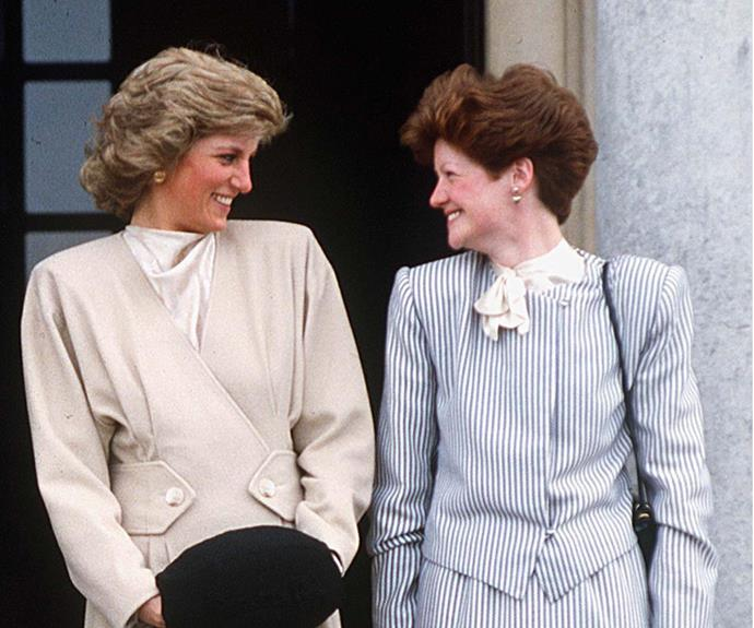 Royal insiders are also predicting William and Kate may stray from tradition and honour the late Princess Diana, pictured here with sister Lady Sarah McCorquodale, by picking one of her siblings.