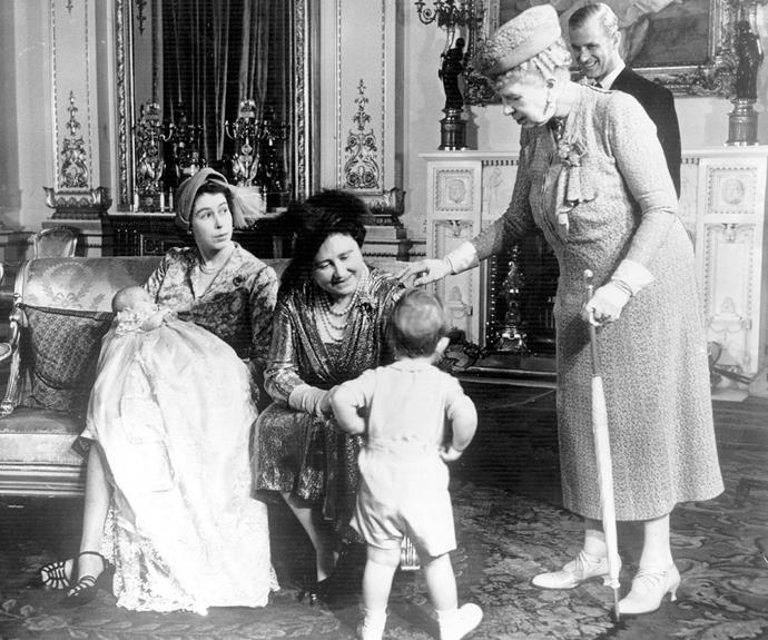 Just like his son William, a young Prince Charles tried to command some attention during his younger sibling's baptism.