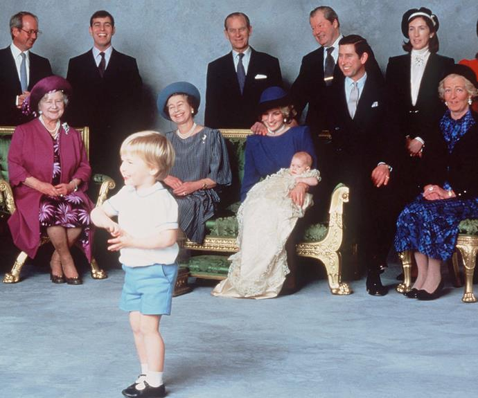 **Prince Harry** <br><br> Cheeky Prince William steals the spotlight at little brother Prince Harry's christening in 1984. The ceremony was conducted at the St. George Chapel in Windsor Castle by the Archbishop of Canterbury.