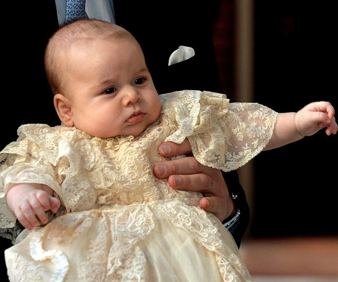 The three-month-old Prince wore a replica of the lace gown made for Queen Victoria's eldest daughter Victoria in 1841, which was worn at royal christenings until 2008.