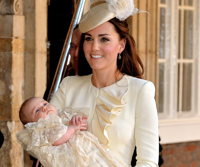 Proud mum Catherine opted for a classic cream Alexander McQueen dress and a matching fascinator.