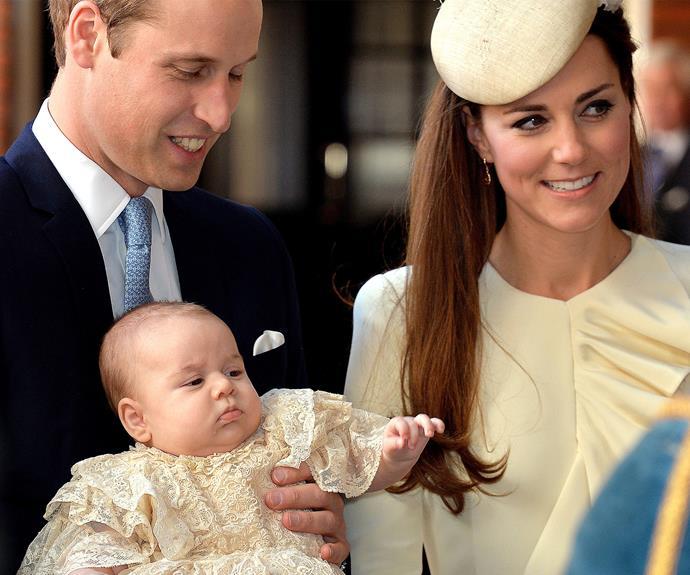 **Prince George** <br><br> George's seven godparents were revealed to be Oliver Baker, Emilia Jardine-Paterson, Earl Grosvenor, Jamie Lowther-Pinkerton, Julia Samuel, William van Cutsem and Zara Phillips.