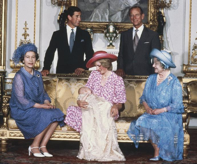 The Queen, Princess Diana, Prince Charles, Prince Philip and the Queen Mother pose for an official family portrait with their new grandson, Prince William.