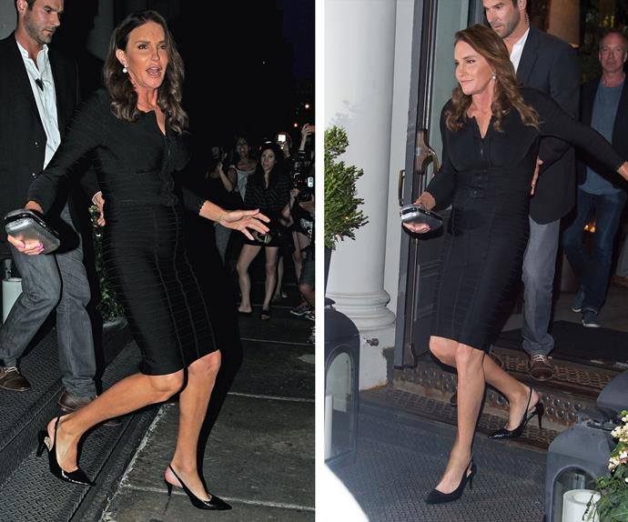 Looking demure in black, Caitlyn Jenner was met with a crowd of adoring fans as she stepped out of a restaurant in New York City.
