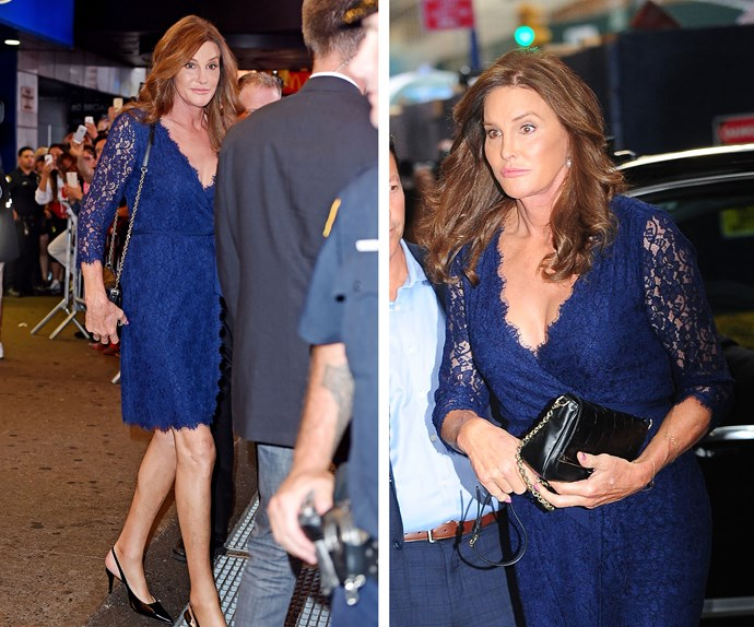 Lady in lace: This stunning blue outfit makes the former Olympian look like a bona-fide movie star. Bonus point for teaming it with a chic black handbag.