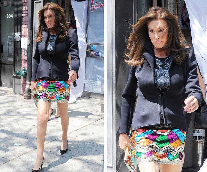 Those legs! That rainbow skirt! And a waist to die for! Caitlyn looked every part a fashionista as she stepped out of Patricia Field's boutique in a structured blazer and sequinned mini.