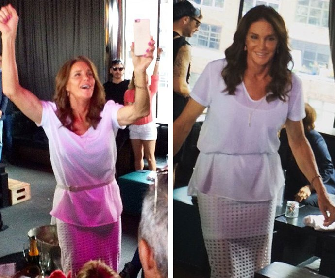Celebrating Gay Pride in New York and the US's historic marriage equality legislation, Caitlyn let her hair down and mingled with fans in this show-stopping white ensemble.