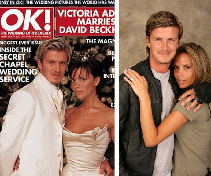It doesn't get much better than retro Posh and Becks. Perhaps the only couple in the world that can pull off matching white wedding ensembles and gold thrones to boot.