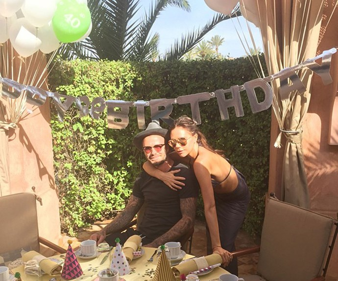 Posh and Becks share a cuddle at David's 40th birthday celebrations in Marrakesh earlier this year.