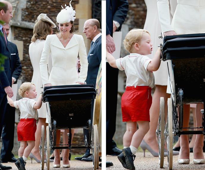 The excitement was too much for big brother George, who just wanted to lay eyes on his adorable sister on her big day. Here the nearly-two-year-old, sneaks a glance into his sibling's pram.