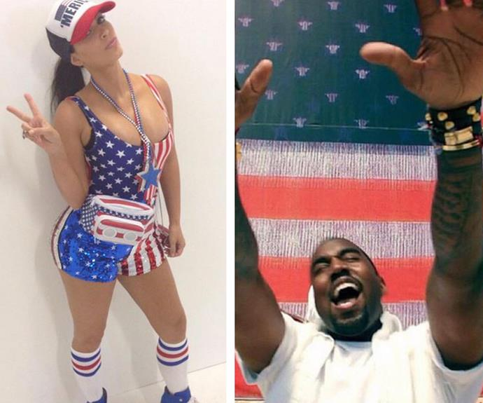 It's not a national American holiday without a serving of the Kardashian-West clan. Kim reminded us that it was the 4th of July by dipping her body into a sequined flag (and it looks like Kanye approved).
