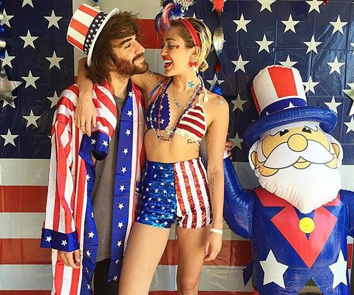 Miley Cyrus, well, being Miley. We think she bought America out of all 4th of July party accessories.