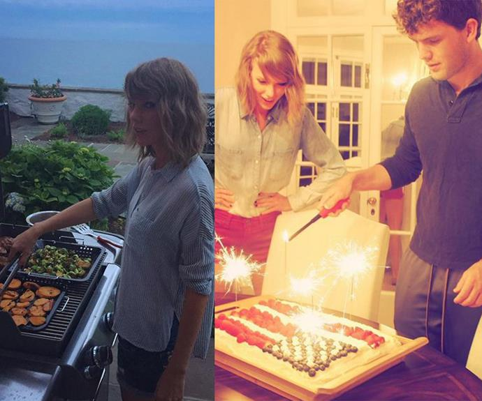 What's a party without cake? Boyfriend Calvin Harris was loving his girlfriend's BBQ skills.