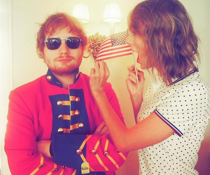 We ADORE Ed Sheeran's swag in this military jacket and how cute are Taylor's curls!