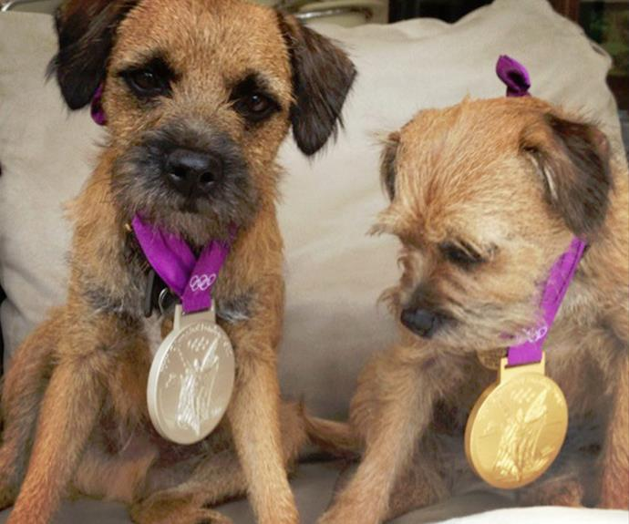 Rusty and Maggie May rocking some of Andy's Olympic bling.
