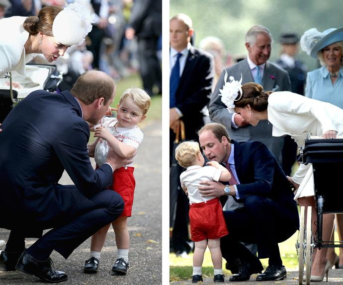 Prince William has a word with his eldest as cheeky George listens to his dad.