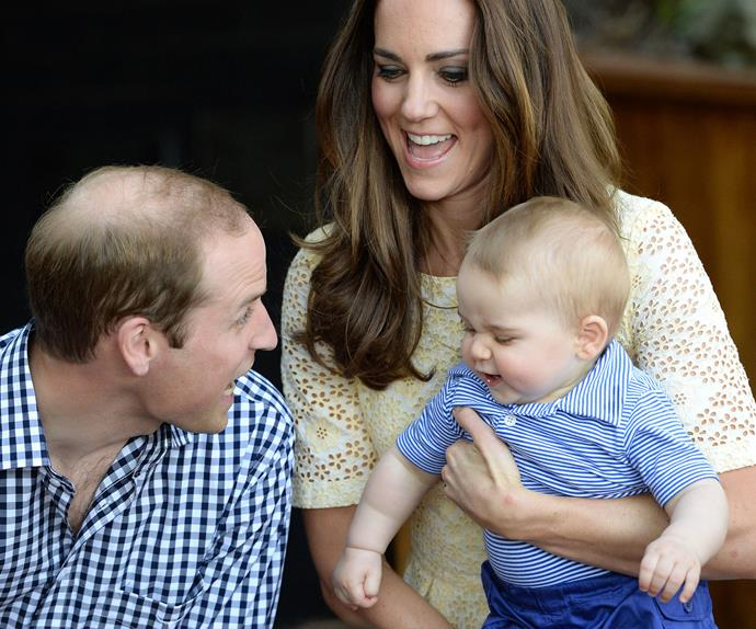 Prince George is more than happy to be dad's very own personal jester and Wills is loving it sick.