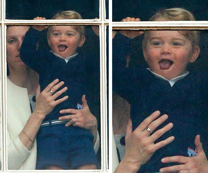 When George spotted his parents in the crowd at Trooping the Colour, he couldn't quite contain his excitement! **Relive George's magical first few years of life in the next slide. Post continues after the video!**