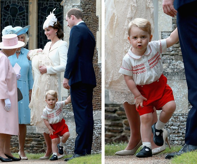 Prince George cares not for your pomp and ceremony! The soon-to-be two-year-old looks rather restless at his sister's christening.