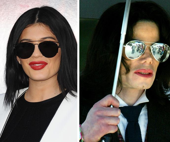 The 17-year-old played homage to the King of Pop, Michael Jackson, but seemingly style stalking his aviators. The Kardashian/Jenner clan have close ties to the Jackson family with Kim's first boyfriend being the musician's nephew, TJ.