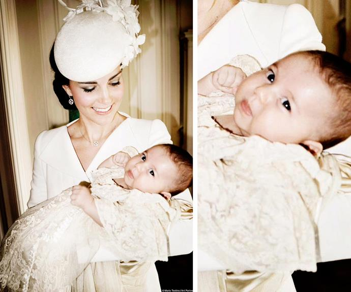 Princess Charlotte Elizabeth Diana has her mother's eyes. The Duchess of Cambridge holds Princess Charlotte in the Drawing Room at Sandringham House