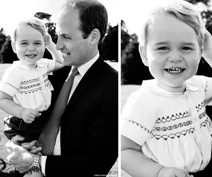 Isn't he adorable!Look at that cheeky grin. The Duke of Cambridge playing with Prince George in the garden at Sandringham House