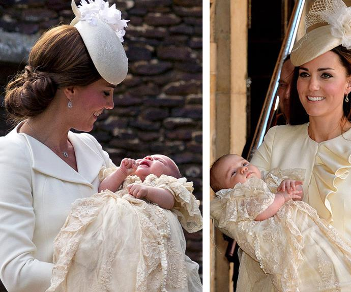 It's a royal flush! We got déjà vu when we saw Charlotte at her christening (L). She looks so much like her big brother George, when he got christened back in 2013 (R).