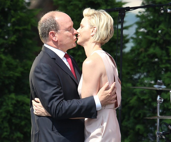 Too cute! The husband and wife, who tied the knot it 2011, shared a loving kiss after Charlene's speech.