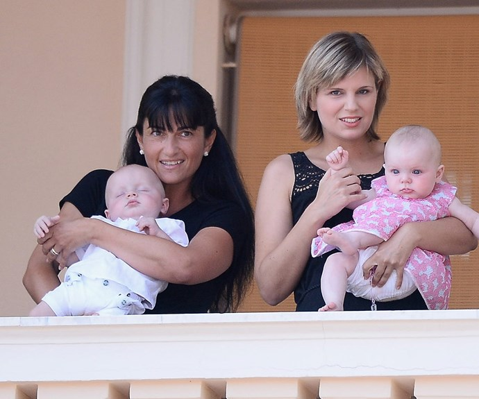 It was all too much for Prince Jacques of Monaco, who snoozed away in his nanny's arm.