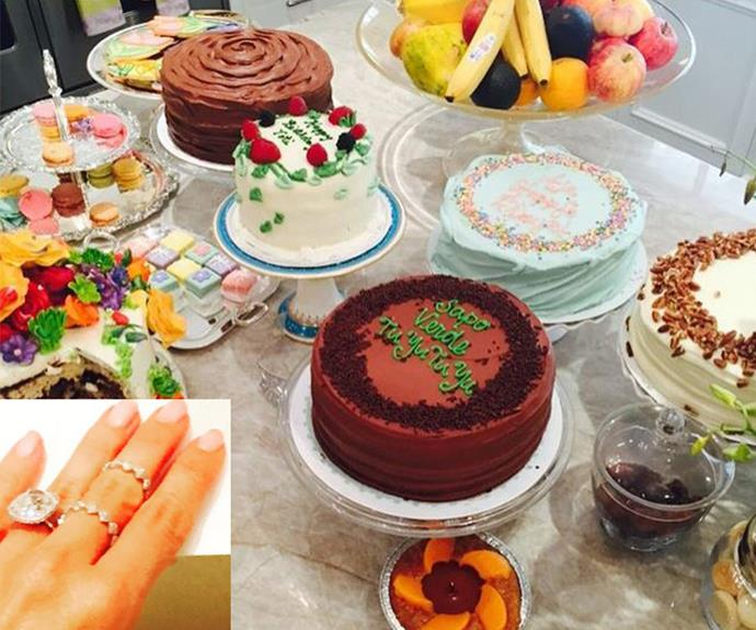 Sofia shared a snap of the fine rings she was given by a friend (on her middle finger) and all the cake that was left-over! Tea will be at Sofia's for the next month!