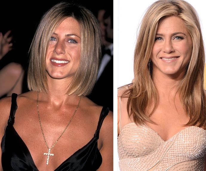 """It's different every day. I've been doing barre method because I have a hip flexor injury. I can't do yoga. I do 20-30 minutes of cardio and then an hour with barre method,"" 46-year-old Jennifer Aniston, pictured in 1999 on the left and 2015 on the right, mused to *Elle* of her work-out routine. Well, it's certainly working for the radiant actress."