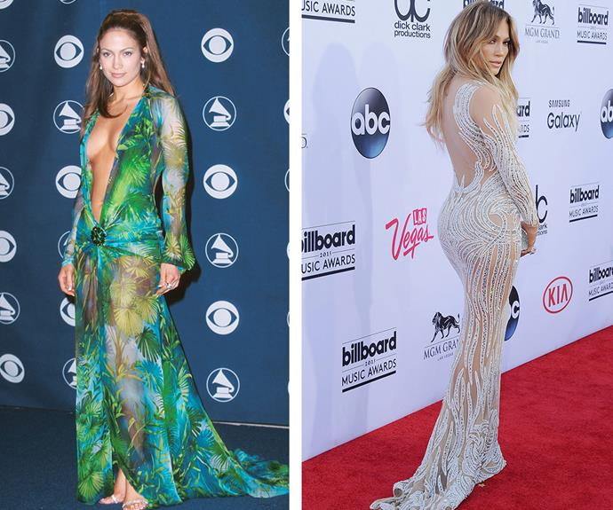 JLo still gives good dress! Who could forget the singer's iconic 2000 Grammy frock by Versace (L) and earlier this year she was just as smouldering at the 2015 Billboard Music Award in a figure-hugging Charbel Zoe gown.