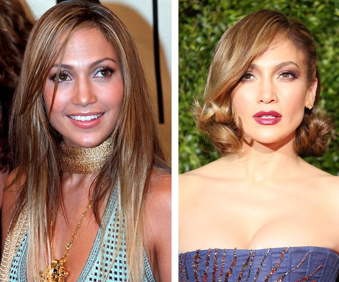Jennifer Lopez: ultimate face/smoulder/sass goals. The 45-year-old, pictured in 2000 on the left and 2015 right, continues to flourish in talent, intelligence and beauty.