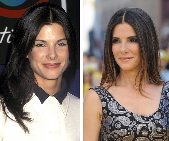 Like a fine wine, the fearless Sandra Bullock just gets better with age. In 1993 (L) Sandy was glowing with beauty and it's no different in 2015 (R).