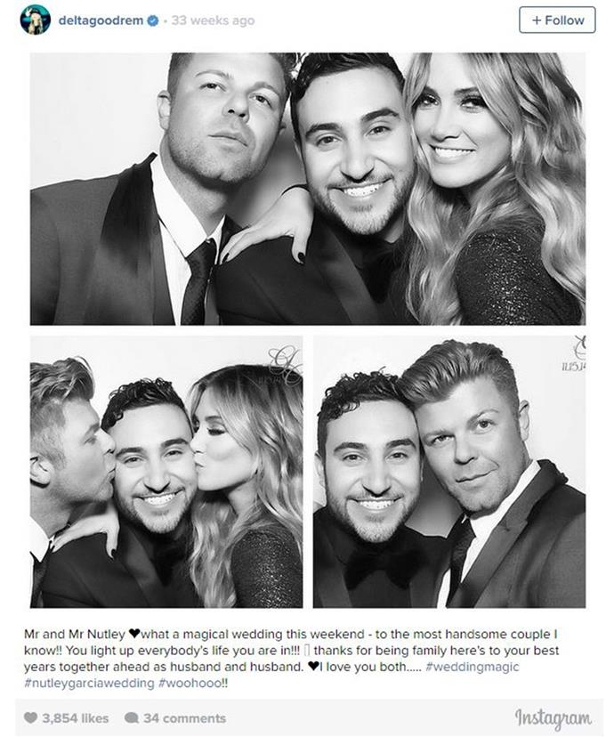 Delta Goodrem's inspiration for her impassioned tune *You and You Alone*, friends and newlyweds Glenn and Chris.