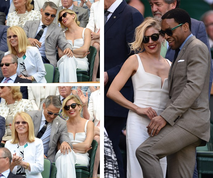 Sienna looked flawless in a flattering white ensemble at Wimbledon recently as she shared a chuckle with Hollywood super-agent, Ari Emanuel, and British actor Chiwetel Ejiofor.