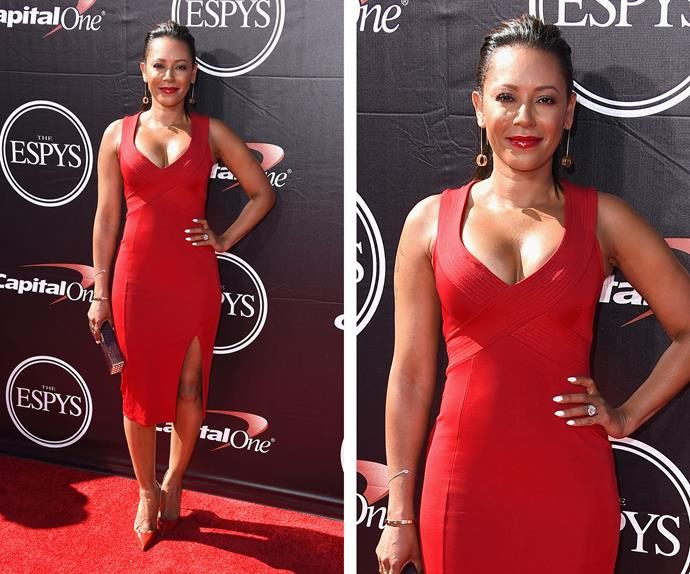 Former Spice Girl Mel B stunned in a plunging red bodycon number.