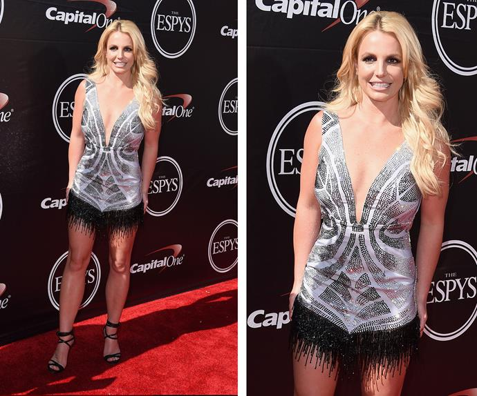 Britney Spears, who is presenting an award at the event, rocked a showgirl-inspired look in an embellished playsuit.