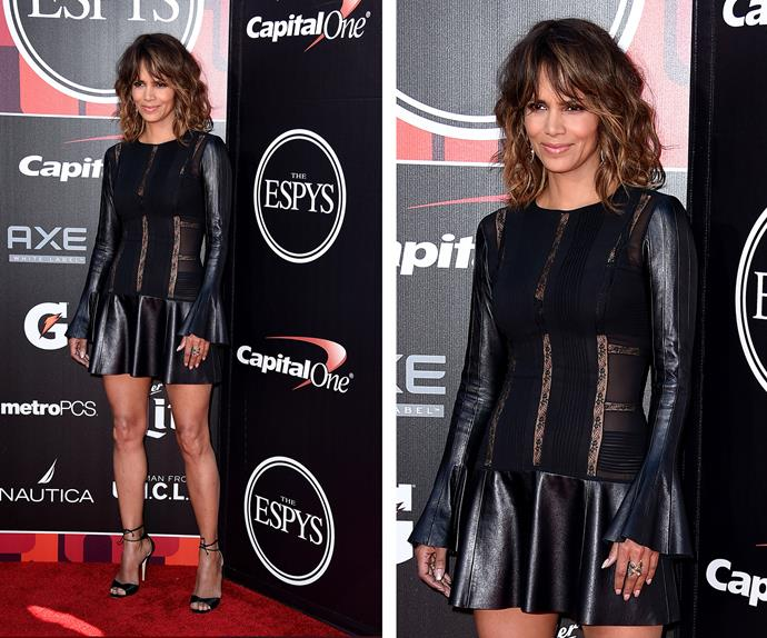 Halle Berry is timeless. The 48-year-old oozed sex appeal in a stunning pleated leather dress.
