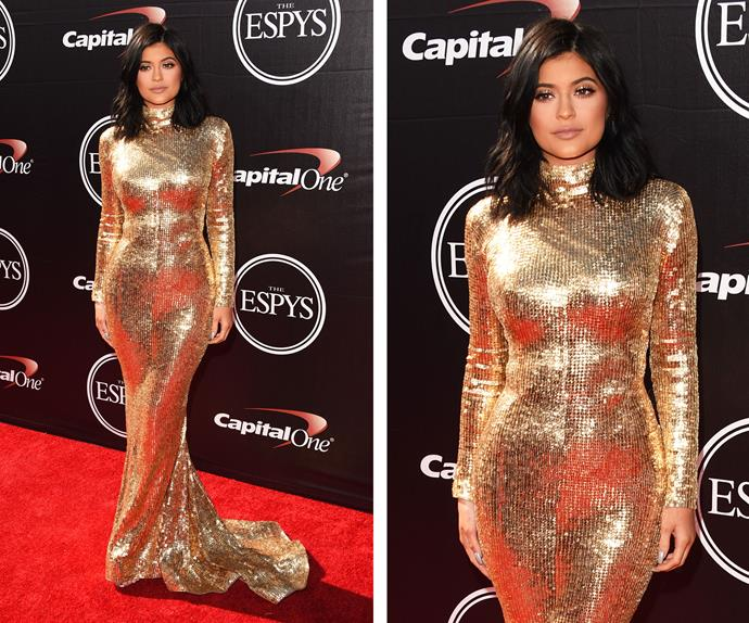 Caitlyn's daughter Kylie looked positively radiant in this sparkly gold gown.