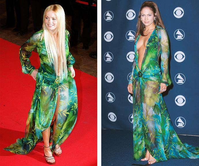 (L-R) Geri Halliwell steps out at an event in Cannes in January 2000. A month later, Jennifer Lopez rocks the exact same Versace number at the Grammy Awards and essentially breaks the internet.